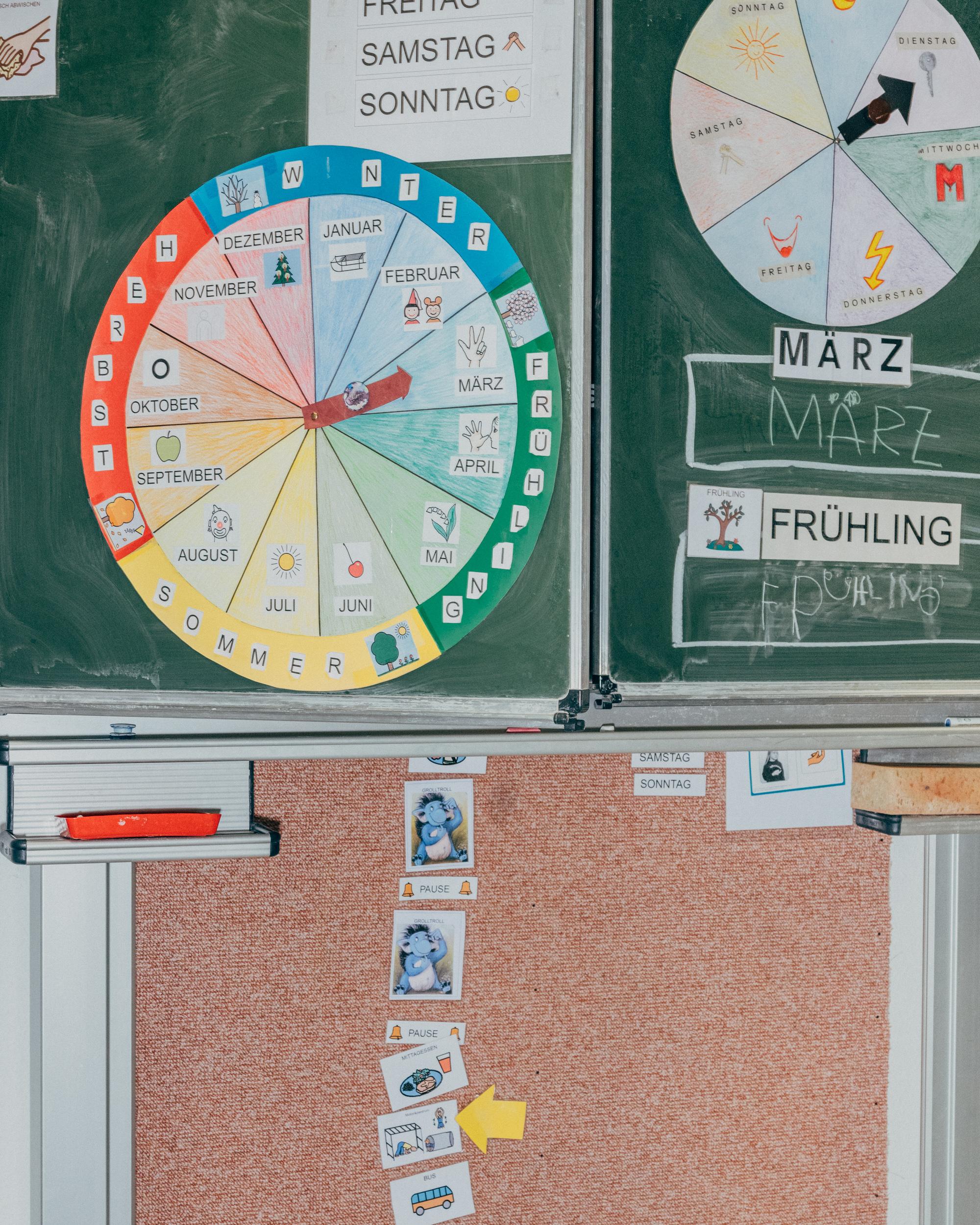 An einer Tafel der Mosaikschule, einer Schule mit dem Förderschwerpunkt geistige Entwicklung im Frankfurter Westen, hängen verschiedene Unterrichts- und Lehrmaterialien. Foto: Mario Wezel